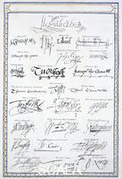 Malden Sarah, Countess of Essex (1761 ca.-1838) Reproduction of the signatures of the Tudors and members of their court, 1825. From 'Memoirs of the Court of Queen Elizabeth', published in 1825.