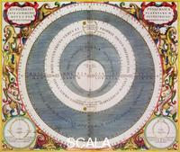 Cellarius, Andreas (1596 ca.-1665) Ptolemic System, 1660-1661. The Ptolemaic or geocentric model has the Earth at the centre of the Universe with all the other bodies, including the Sun, orbiting around it. From the 16th century it was superseded by the heliocentric models proposed by Copernicus, Kepler and Galileo. From 'The Celestial Atlas, or The Harmony of the Universe' (Atlas coelestis seu harmonia macrocosmica) by Andreas Cellarius, published by Johannes Janssonius, (Amsterdam 1660-1661).