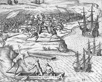 ******** Battle in Jamaica between Christopher Columbus and Francisco Poraz, 1504 (1631).