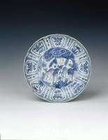 Arte cinese Kraak dish with deer and 'Y'-shaped rocks, Ming dynasty, China, c1580-1600.