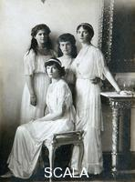******** The four daughters of Tsar Nicholas II of Russia, 1910s. Grand Duchesses Olga (1895-1918), Tatiana (1897-1918), Maria (1899-1918) and Anastasia (1901-1918) of Russia in the sitting-room. All four were murdered by the Bolsheviks at Yekaterinburg on 17 July 1918. Found in the collection of the State Museum of History, Moscow.