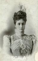 ******** Tsarina Alexandra Fyodorovna, wife of Tsar Nicholas II of Russia, early 20th century. A granddaughter of Queen Victoria, Princess Alix of Hesse (1872-1918) married Tsar Nicholas II in November 1894. She, her husband and their children were assassinated by Bolsheviks at Yekaterinburg in 1918. Found in the collection of the State Museum of History, Moscow.