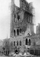 ******** The tower of Market Hall after a German bombardment, Ypres, Belgium, First World War, (1920). Illustration from 'The Illustrated War Record of the Most Notable Episodes in the Great European War 1914-1918', seventh edition, (The Swarthmore Press Ltd, London, c1920).
