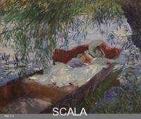 Sargent, John Singer (1856-1925) Lady and Child asleep in a Punt under the Willows, 1887