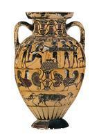 ******** Black-figured Tyrrhenian amphora (wine-jar) attributed to the Timiades Painter