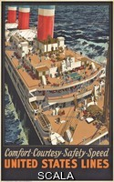 ******** American School, (20th century). Poster advertising the shipping company 'United States Lines'.