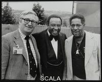 ******** Dennis Matthews of Crescendo International with Lionel Hampton and Dizzy Gillespie at the Capital Radio Jazz Festival, Alexandra Palace, London, July 1979.
