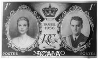 ******** Stamp issued in Monaco on the day of Prince Rainier and Grace Kelly's wedding, 1956.