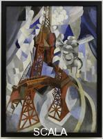 Delaunay, Robert (1885-1941) Red Eiffel Tower (La tour rouge). 1911-12. Oil on canvas, 49 1/4 x 35 3/8 inches (125 x 90.3 cm). Solomon R. Guggenheim Founding Collection.