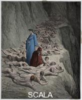 ******** The Divine Comedy (La Divina Commedia, La Divine Comedie), Purgatorio, Canto 19 : The souls of the avaricious: Adrian V (pape Adrien V) speaks to Dante - by Dante Alighieri (1265-1321) - Illustration de Gustave Dore (1832-1883), 1885