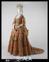 ******** Dress (Mantua) and stomacher, Dress: ca. 1708; stomacher: ca. 1720s.