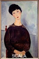 Modigliani, Amedeo (1884-1920) Portrait de jeune fille brune assise, 1918