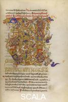 ******** Psalm 73, [Whole folio] Psalm 73, beginning with initial 'U', with intricate and dense interlace decoration, featuring interwoven white beasts and bright animal heads Image taken from Monte Cassino Psalter. Originally published/produced in S. Italy; middle of 12th century.  .