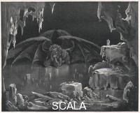 ********  The winged demon in his icy lair. Poet: Dante Alighieri. 19th century engraving by Pisan after Gustave Dore to La Divina Commedia. First published: 1307-21