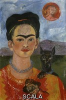 Kahlo, Frida (1907-1954) Autoritratto con cane Ixcuintle e sole 1953-1954.
