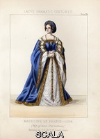 ******** Madeleine of France (ou Madeleine de Valois, 1520-1537), wife of King James V of Scotland, 1536. Handcoloured lithograph from Thomas Hailes Lacy's 'Female Costumes Historical, National and Dramatic in 200 Plates,' London, 1865. Lacy (1809-1873) was a British actor, playwright, theatrical manager and publisher.