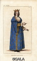 ******** Philip VI, King of France, died 1349. He wears a crown, ermine-lined hooded robe with gold fleurs de lys, gold sleeves with ermine cuffs, cracows or poulaines. Handcoloured copperplate drawn and engraved by Leopold Massard from 'French Costumes from KingClovis to Our Days,' Massard, Mifliez, Paris, 1834.