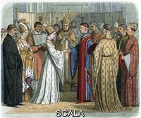 ******** Mariage du roi Henri V d'Angleterre (1387-1422) avec Catherine de Valois (1401-1437) apres la signature du traite de Troyes, 2/06/1420 (Marriage of Henry V with Katherine of Valois, twelve days after signature of the Treaty of Troyes. June 2, 1420) Illustration from A Chronicle-of-England