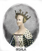 ******** Portrait de la reine Catherine de Valois (1401-1437), epouse du roi d'Angleterre Henri V (Queen Katharine of England, wife of Henry V) Engraving 19th century Private collection