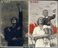 ******** Them... Us. Huge double image showing on the left, a scene of defiance amid devastation. On the right, a Soviet Woman with her well-fed son, looking to the skies, giving thanks to comrade Stalin for the immeasurable riches bestowed upon the motherland. By Viktor Koretsky 1909-1998. Part of the David King Collection. Presented to Tate Archive By David King 2016.