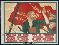 ******** Long Live the Third Communist International! poster By Sergei Ivanov. Published to coincide with the Second Congress of the Comintern held in Moscow and Petrograd. 1920.  Published By Gossudarstvennaya Sila. By Sergei Ivanov 1885-1942. Part of the David King Collection. Presented to Tate Archive By David King 2016
