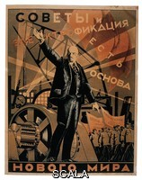 ******** Soviets and Electrification - This is the Foundation of the New World.  Poster By Alexander Samokhvalov's. 1924. By Alexander Samokhvalov 1894-1971. Part of the David King Collection. Presented to Tate Archive By David King 2016 <br><br>© Samokhvalov, Alexander
