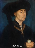 ******** Portrait of Philippe le Bon, or Philippe III duc de Bourgogne, or Philip the Good, Philip III Duke of Burgundy, 1396-1467, oil painting on wood, by studio of Rogier Van Der Weyden, 1390-1464, from the collection of the Musee d'Art et d'Industrie de Saint-Etienne, in the Musee des Beaux-Arts de Dijon, opened 1787 in the Palace of the Dukes of Burgundy in Dijon, Burgundy, France. Philip is pictured wearing the collar of firesteels of the Order of the Golden Fleece, which he instituted in 1430, to celebrate his marriage to the Portuguese princess Infanta Isabella of Portugal. Picture by Manuel Cohen