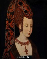 ******** Portrait thought to be Isabelle du Portugal, Duchesse de Bourgogne, or Isabella of Portugal, Duchess of Burgundy, 1397-1471, third wife of Philippe le Bon or Philip the Good, oil painting on wood, copy c. 1500 of an original c. 1430, from the collection of the Musee du Louvre, in the Musee des Beaux-Arts de Dijon, opened 1787 in the Palace of the Dukes of Burgundy in Dijon, Burgundy, France. Isabella is pictured wearing a traditional Burgundian heart-shaped headdress, with clusters of pearls and gem stones set in a geometric pattern and a securing band under her ear to support the weight of the coif, which is also jewelled. Picture by Manuel Cohen