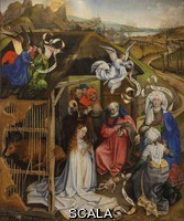 ******** Nativity and Adoration of the Shepherds, oil painting on wood, 1420, by the Master of Flemalle, Robert Campin, 1375-1444, in the Musee des Beaux-Arts de Dijon, opened 1787 in the Palace of the Dukes of Burgundy in Dijon, Burgundy, France. This painting depicts the birth of Christ and the Adoration of the Shepherds, with 2 midwives on the right and a choir of angels overhead. Picture by Manuel Cohen