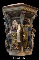 ******** Polychrome plaster replica of Moses holding a scroll and the tablets of the law and King David with a scroll, from the Puits de Moise, or Well of Moses, 1395-1403, sculpted by Claus Sluter, 1340-1406, and his studio, and painted by Jean Malouel, 1365-1415, originally for the Chartreuse de Champmol, in the Musee des Beaux-Arts de Dijon, opened 1787 in the Palace of the Dukes of Burgundy in Dijon, Burgundy, France. The sculpture was commissioned by Jean sans Peur or John the Fearless, and consists of a crucifixion scene surrounded by 6 prophets (Moses, David, Jeremiah, Zachariah, Daniel and Isaiah), with 6 weeping angels. Picture by Manuel Cohen