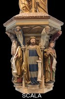 ******** Polychrome plaster replica of King David with a scroll, with Moses on the left and Jeremiah on the right, from the Puits de Moise, or Well of Moses, 1395-1403, sculpted by Claus Sluter, 1340-1406, and his studio, and painted by Jean Malouel, 1365-1415, originally for the Chartreuse de Champmol, in the Musee des Beaux-Arts de Dijon, opened 1787 in the Palace of the Dukes of Burgundy in Dijon, Burgundy, France. The sculpture was commissioned by Jean sans Peur or John the Fearless, and consists of a crucifixion scene surrounded by 6 prophets (Moses, David, Jeremiah, Zachariah, Daniel and Isaiah), with 6 weeping angels. Picture by Manuel Cohen