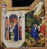 ******** The Presentation in the Temple and the Flight to Egypt, painted and gilded by Melchior Broederlam, 1350-1409, on the back of the wings of the Crucifixion Altarpiece, 1390-99, originally in the Chartreuse de Champmol, in the Musee des Beaux-Arts de Dijon, opened 1787 in the Palace of the Dukes of Burgundy in Dijon, Burgundy, France. The altarpiece was commissioned in 1390 and installed in 1399 in the Chapel of the Duc de Berry at Champmol. Picture by Manuel Cohen