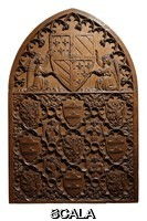 ******** Back of the armorial chair of Jean Sans Peur (Jean de Valois or Jean I duc de Bourgogne), or John the Fearless (John of Valois or John I Duke of Burgundy), 1371-1419, carved by Jean de Liege, 1330-81, in the Musee des Beaux-Arts de Dijon, opened 1787 in the Palace of the Dukes of Burgundy in Dijon, Burgundy, France. The upper section is the coat of arms of Jean Sans Peur, with the lion of his mother Margaret of Flanders, and below are the symbols of Bethel County and the County of Burgundy, and angels holding musical instruments such as the unicorde, flute and viola. Picture by Manuel Cohen