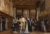 ******** Francois I giving the titles and benefits of the Abbey of Saint-Martin to Rosso, oil painting on canvas, 1865, by Isidore Patrois, 1815-84, in the collection of the Depot du Fonds National d'Art Contemporain, in the Salle des Valois, with collections belonging to the Valois, especially Francois I, on the first floor of the Francois I wing, built early 16th century in Italian Renaissance style, at the Chateau Royal de Blois, built 13th - 17th century in Blois in the Loire Valley, Loir-et-Cher, Centre, France. The chateau has 564 rooms and 75 staircases and is listed as a historic monument and UNESCO World Heritage Site. Picture by Manuel Cohen