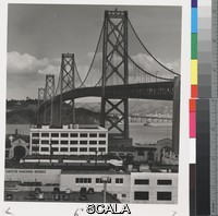 Yavno, Max (1911-1985) untitled. 1947. [Oakland Bay Bridge; 'Christie Machine Works' sign in foreground], 1947. Gelatin silver print. Overall, Primary Support: 7 15/16 x 6 15/16 in. (20.2 x 17.7 cm) Image: 6 13/16 x 6 in. (17.3 x 15.3 cm). Max Yavno Archive. Inv. N.: 92.143.124