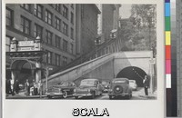 Yavno, Max (1911-1985) Angels' Flight. 1945-1949. [gate sign 'Angels' Flight', two coaches on rail, buildings, tunnel and traffic]. Gelatin silver print. Overall, Primary Support: 8 x 10 in. (20.3 x 25.4 cm) Image: 5 15/16 x 9 3/8 in. (15.1 x 23.8 cm). Max Yavno Archive. Inv. N.: 92.144.14