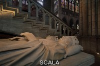 ******** Royal tombs, with effigies of John II the Good, 1319-1364, and Philippe VI of Valois, 1293-1350, in the Basilique Saint-Denis, Paris, France. The basilica is a large medieval 12th century Gothic abbey church and burial site of French kings from 10th - 18th centuries. Picture by Manuel Cohen