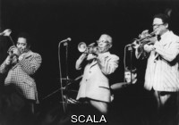 ******** Jazztrompeter. The three trumpeters Dizzy Gillespie and Roy Eldridge and Clark Terry at Pablo Jazz Festival. About 1985. Photograph.