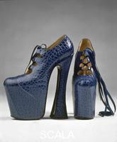Westwood Vivienne (1941-) Pair of platform shoes. Bright blue punched leather, blue silk ribbon laces. 1993 (4th quarter 1993-1st quarter 1994 (retailed))