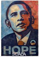 Fairey Shepard (1970-) Barack Hussein Obama. Hand-finished collage, stencil, and acrylic on heavy paper, 2008