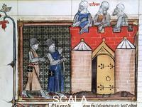 ******** Knights Templar before Jerusalem. From the illuminated manuscript