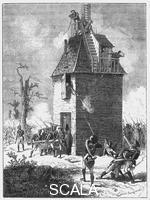 ******** Napoleon's troops defending a telegraph tower, c1815, (c1870).