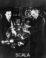 ******** Henry and Edsel Ford with a Ford V8 engine, (c1940s?).