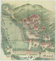 Arte giapponese Picture map depicting the Kamigamo shrine precincts